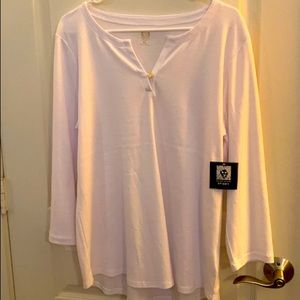 New Anne Klein Sport White Long Sleeve Tee Size XL